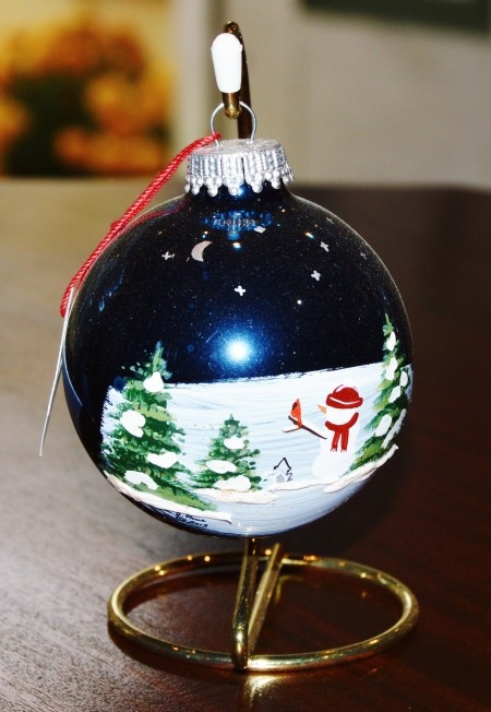 Snowman w/ Cardinal in Woods Glass Ornament