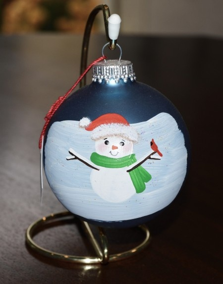 Snowman w/ Cardinal Glass Ornament