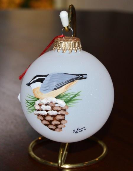 Red-Breasted Nuthatch Glass Ornament
