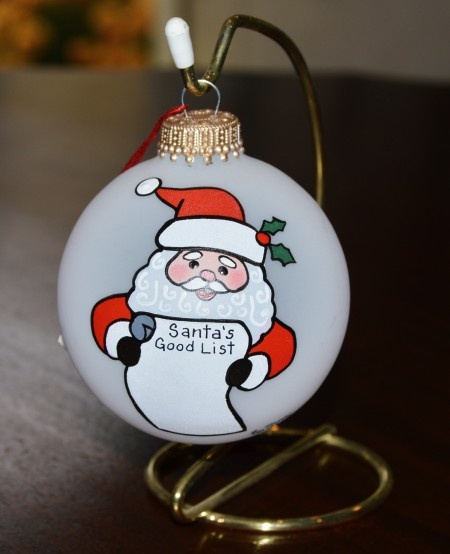 Santa Reading His List Glass Ornament