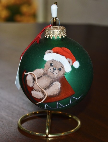 Bear on Sled Glass Ornament