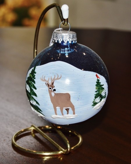 Buck in the Woods w/ Cardinal Glass Ornament