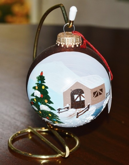 Vermont Covered Bridge Glass Ornament