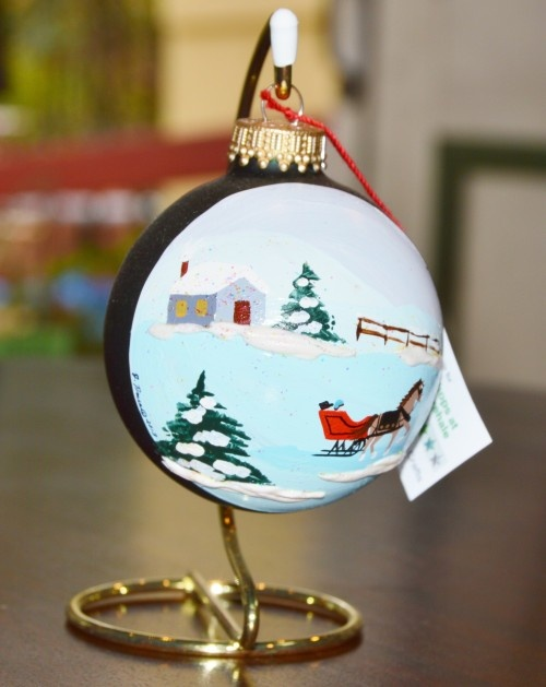Sleigh Ride Glass Ornament