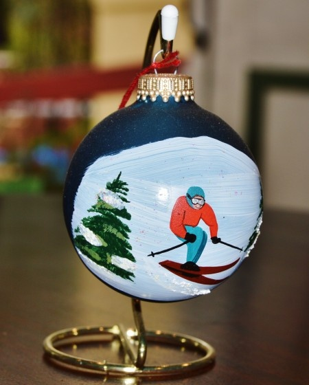 Skiing in Vermont Glass Ornament