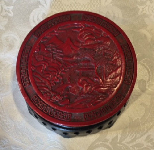 Cinnabar Resin Round Covered Box w/ Stand