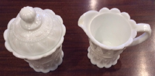 "Kemple White Milk Glass ""Lace & Dewdrop"""