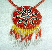 Vintage Navajo Indian Glass Seed Bead Work Pendant