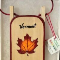 Vermont wooden sled ornament