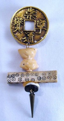 Chinese Pin and Earrings Set