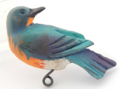 Bluebird Wooden Pin – Hand Carved and Painted – Unique