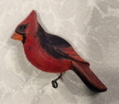 Cardinal Wooden Pin - Hand Carved and Painted - Unique