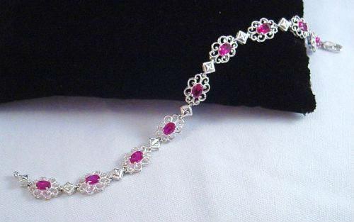 .925 Sterling Silver Thailand Filigree Link Bracelet