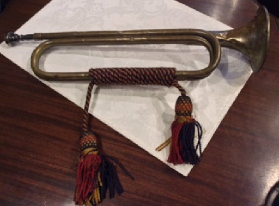 19th c. Brass Cavalry Bugle w/ Hussar Regiment Silk Tassles
