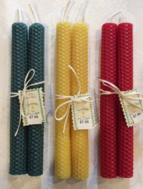 """Beeswax Honeycomb 8"""" Candles – Hand Rolled Pair"""