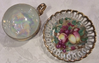 Royal Sealy Pearlized Fruit Motif 3 Toed Cup & Saucer