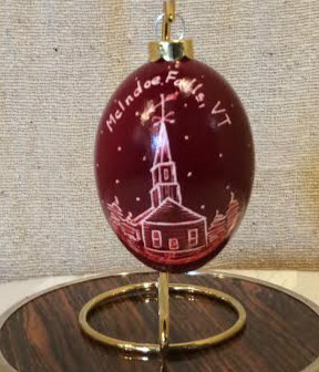 McIndoe Falls, VT Church Egg Shell Ornament