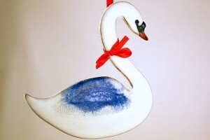 Swan Pottery Ornament