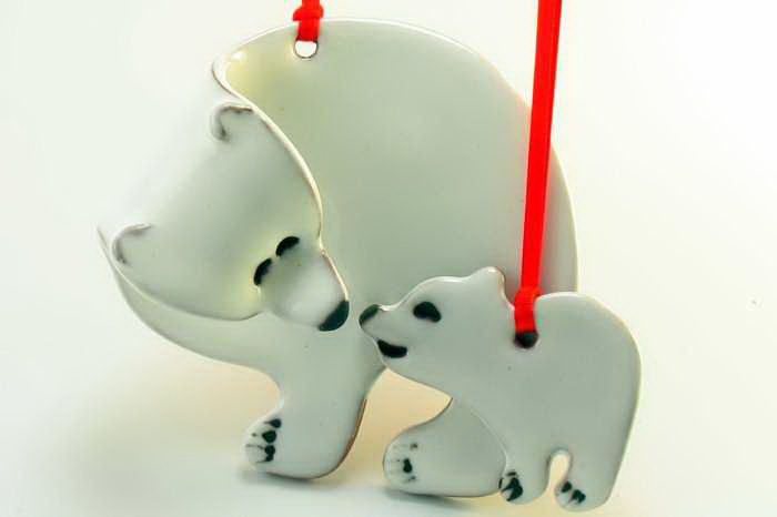 Polar Bear w/ Cub Pottery Ornament