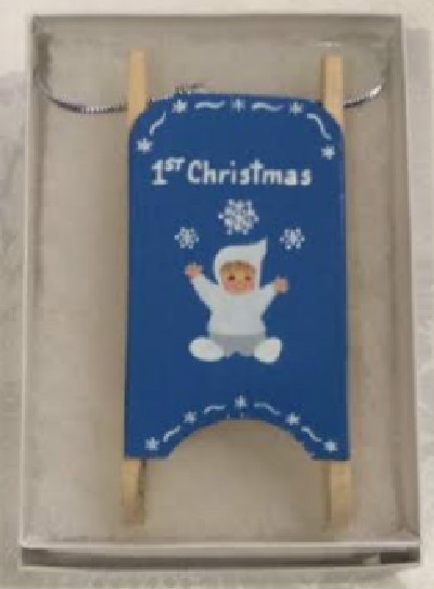 1st Christmas Blue Wooden Sled Ornament