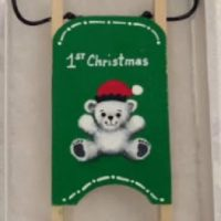 Green Bear 1st Christmas Wooden Sled Ornament