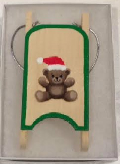 Brown Bear Wooden Sled Ornament
