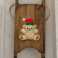 Tan Bear Wooden Sled Ornament