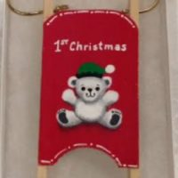 White Bear 1st Christmas Wooden Sled Ornament