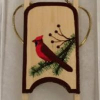 Cardinal Wooden Sled Ornament
