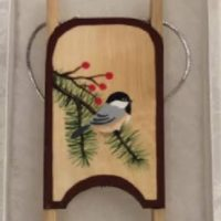 Chickadee Wooden Sled Ornament