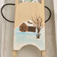 sugaring wooden sled ornament