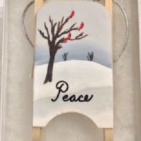 Peace wooden sled ornaments
