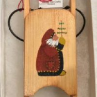 Old Santa wooden sled ornament