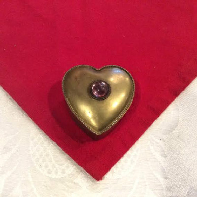 Brass Heart Shaped Snuff Box w/ Inset Cabochon