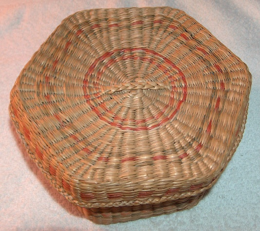 Hexagon Multicolored Woven Sweet Grass Covered Basket
