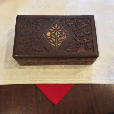 Carved Wooden Box With Inlaid Design