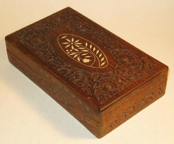 Large Carved Wooden Box With Inlaid Design