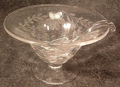 Vintage Wheel Cut Clear Glass Floral Pattern Condiment / Sauce Bowl With Ladle