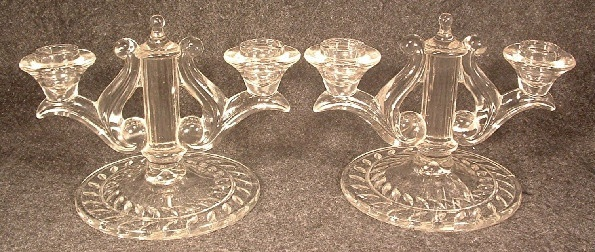 Pair Of Indiana Glass Laurel Double Candlesticks
