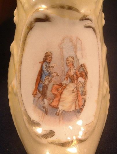 German Porcelain Pale Green Yellow Luster Ladies' Slipper / Shoe - ca. 1920