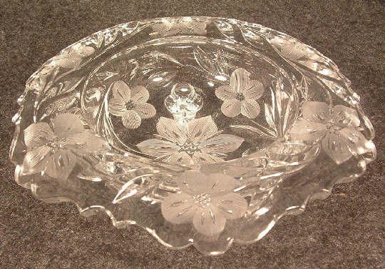 Vintage American Brilliant Cut Glass Wheel Cut Flowers Rolled Edge 3 Toed Bowl