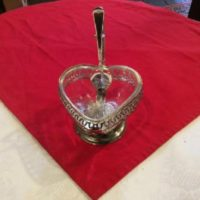 Condiment Dish - Heart Shaped - Silver Plate w/ Spoon