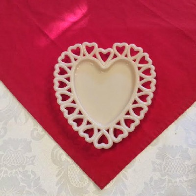 Milk Glass Heart Shaped Plate