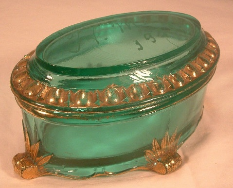Uranium Glass - Green Trinket Box w/ Gold Gilding - 1925