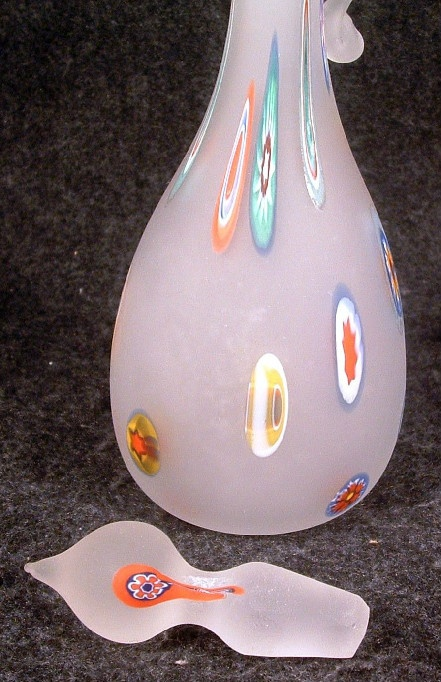 Elegant Tall Murano Millefiori Satin Glass Cruet