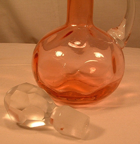 L. G. Wright Cranberry Glass Dot Optic Cruet