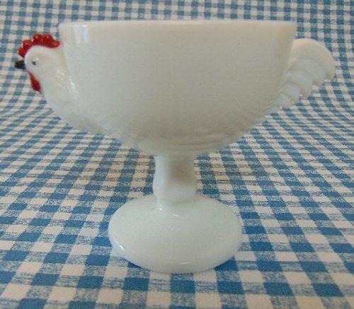 White Milk Glass Chicken Rooster Dessert Fruit Cup