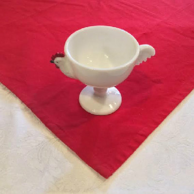White Milk Glass Chicken Rooster Dessert Fruit Cup