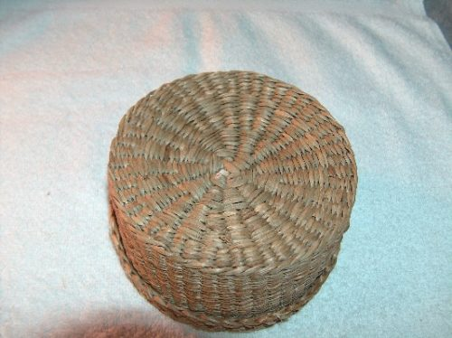 Round Woven Sweet Grass Covered Basket