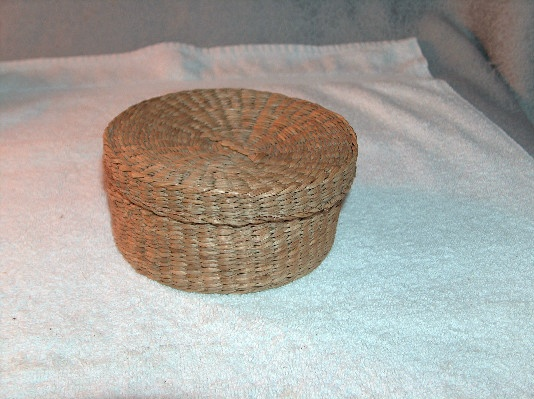 How To Weave A Sweetgrass Basket : Round woven sweet grass covered basket fayrehale farm